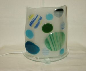 Lampe bulles bleues